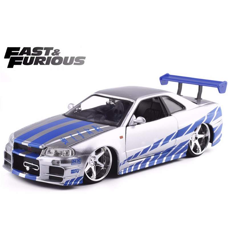 New 1:24 Fast & Furious SKYLINE GT-R Alloy Car Model Metal Diecasts Toy Vehicles Model Toy Car For Kids Toys Gift Free Shipping
