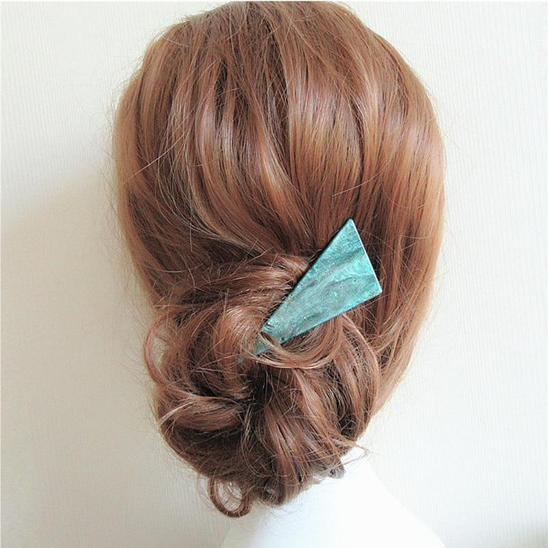 2019 New Fashion Women Girls Cute Acetate Geometric Green Simple Hair Clip Hairpin Headband Barrettes Headwear Hair Accessories