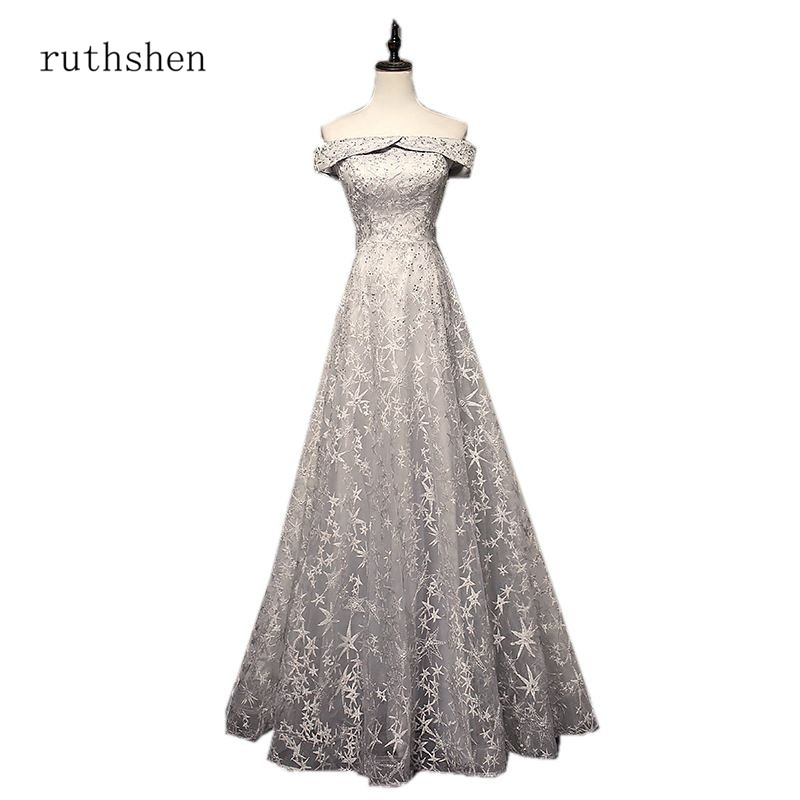 ruthshen Elegant Navy Blue Red   Bridesmaid     Dresses   2018 A-line Off The Shoulder Bling Bling Lace   Dresses   For Wedding Guests