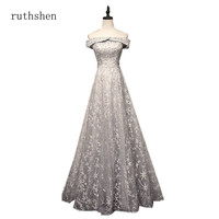 ruthshen Elegant Navy Blue Red Bridesmaid Dresses 2018 A line Off The Shoulder Bling Bling Lace Dresses For Wedding Guests