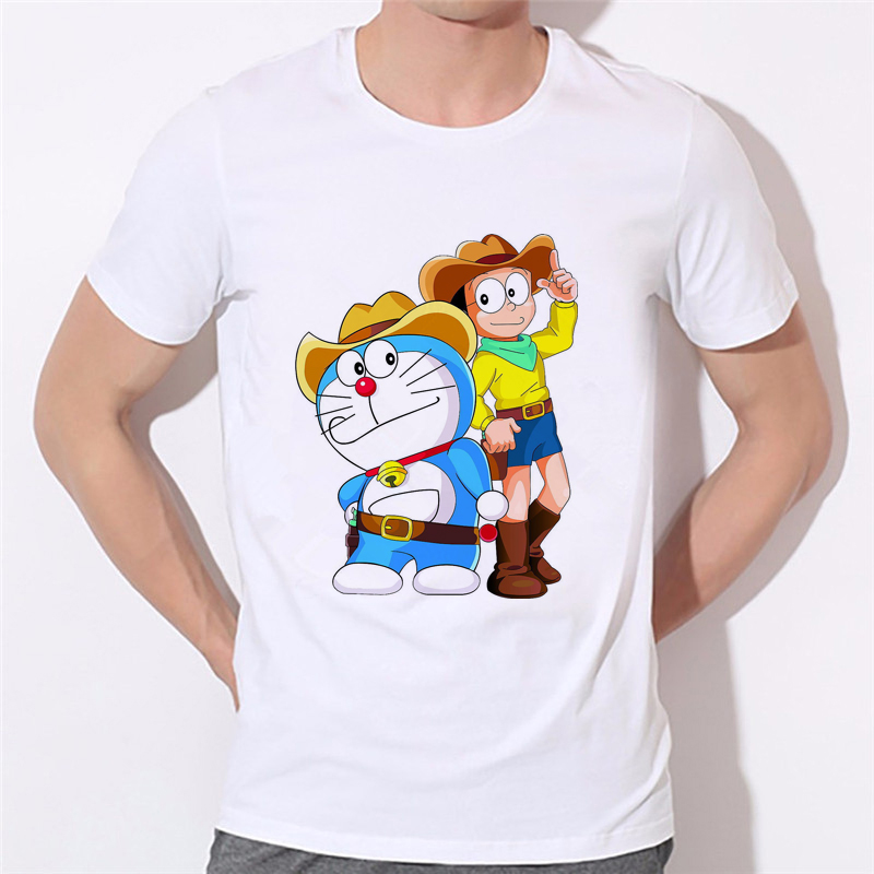 2018 New Summer Fashion men T shirt Casual Short Sleeve T-shirt Lovely cat Doraemon Cartoon Print boy Shirt 10N-15#