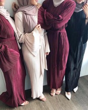 Muslim Adult Fashion Pleated Robe Musulmane Turkish Dubai Speaker sleeve Abaya Muslim Robe Arab Worship Service wj1867 wholesale