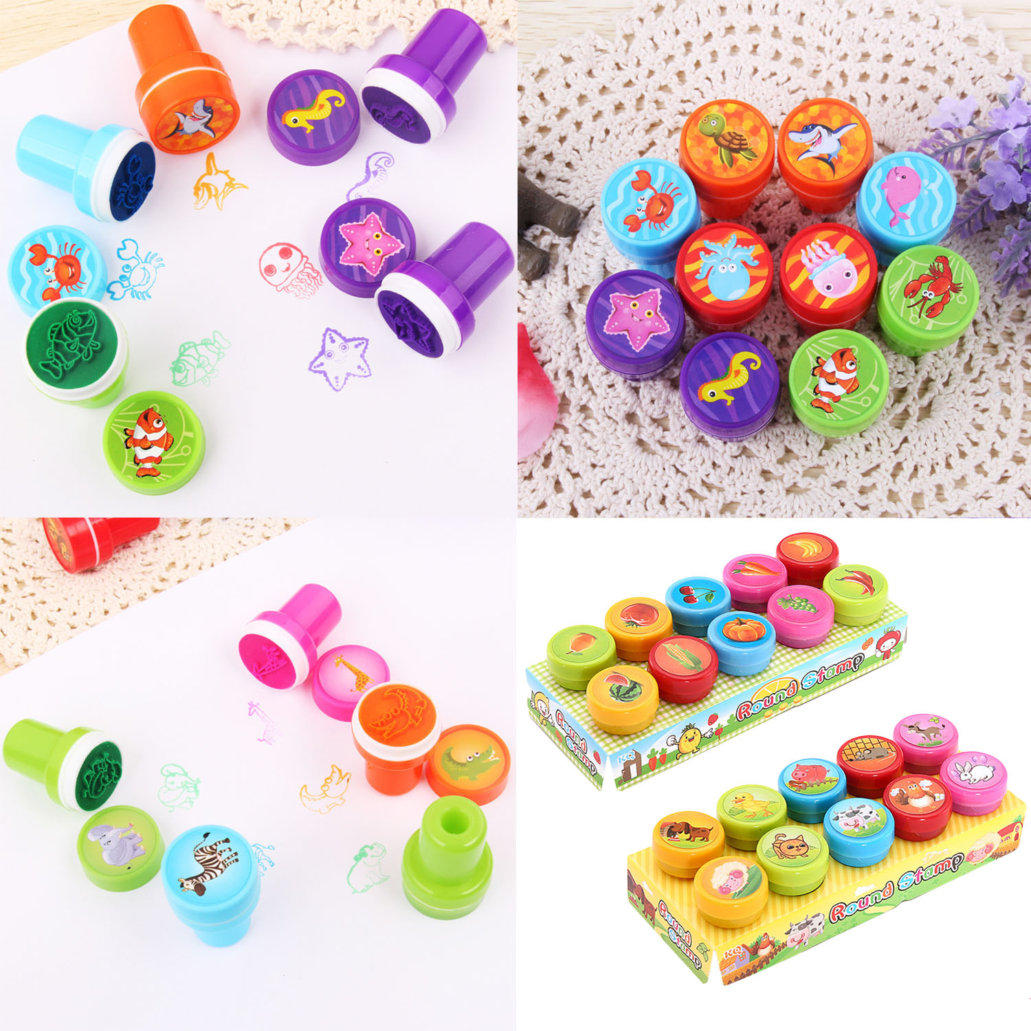 20 Kids Self-ink Cartoon Animal Fruit Vegetable Inking Stamp Toy Inkpad Stamper Accessories Art DIY Crafts Drawing Painting Toy