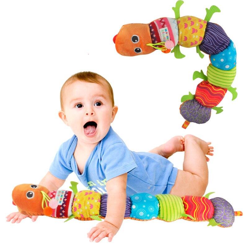 Детские игрушки Музыкальные вещи Caterpillar с кольцом колокол милый мультфильм животных плюшевые куклы раннего обучения Развивающие игрушки д...