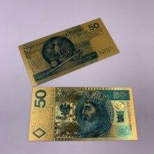 1 шт. 50 PLN цветной золотой фольги пластик поддельные Польша банкноты пластик Поддельные деньги для бизнес подарки и коллекция