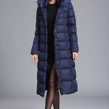 Новинка, зимний длинный пуховик, Женское пальто, большой размер, толстая, теплая, плюс длинная секция