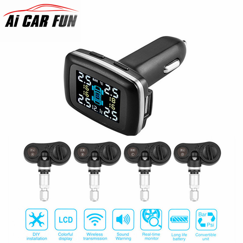 TP620 Digital Tire Pressure Monitoring System 12V Real Time Professional Wireless Smart TPMS Tire Pressure Alarm Car Charger tpms tp620 car tire tire pressure alarm car tire diagnostic tool support bar and psi tire pressure monitor car electronics
