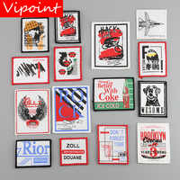 VIPOINT embroidery printed warning patches letter alphabet patches badges applique patches for clothing YM-21