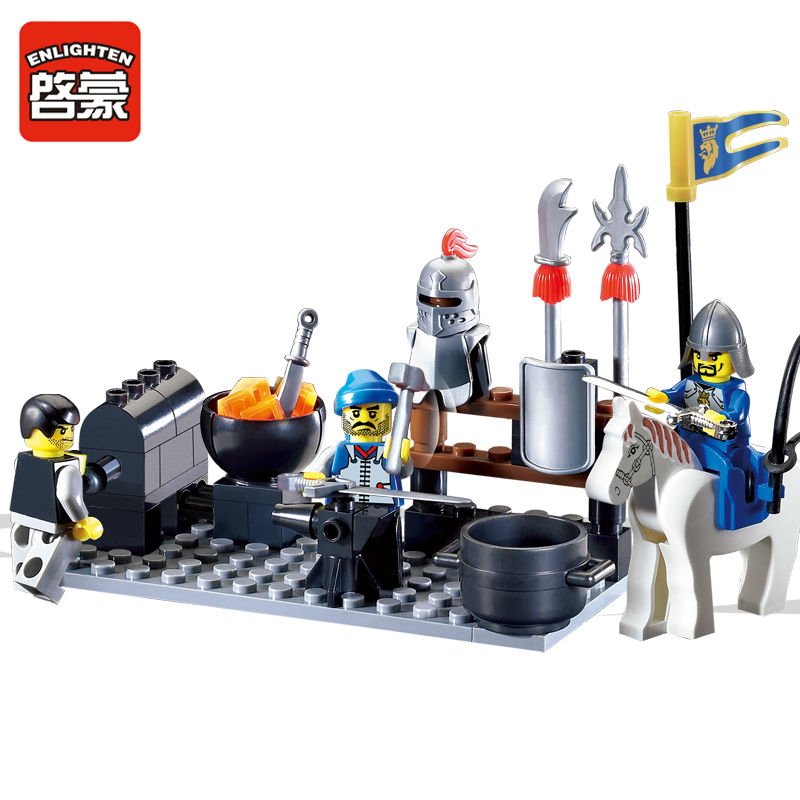 ENLIGHTEN 81Pcs Knights Castle Blacksmith Shop Model Compatible LegoINGs Building Blocks Sets Educational Toys For Children dedo music gifts mg 308 pure handmade rotating guitar music box blue