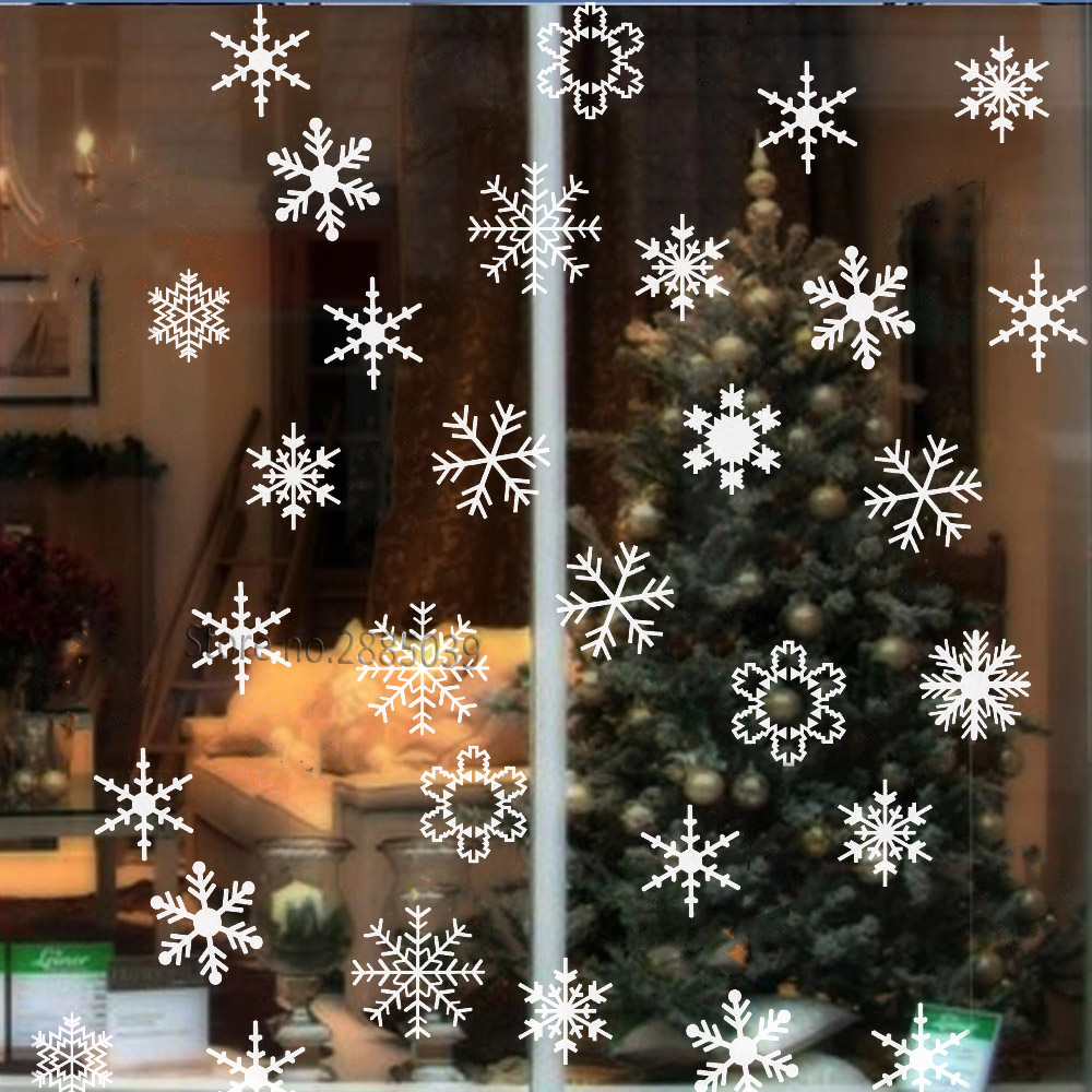 Christmas Tree Snowflakes Window Clings Window Glass Xmas Decor Stickers Stars