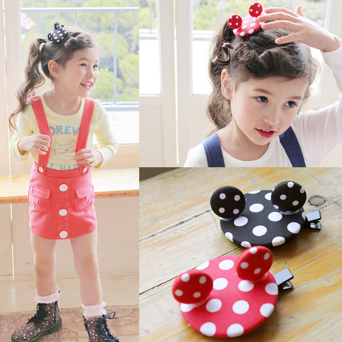 Cute Cartoon Mickey Point Hairpins Hair Ornaments Girls Hair Accessories Children Clip Kids Barrettes baby cute style children accessories hairpins rabbit fur ear kids girls barrette lovely hair clip