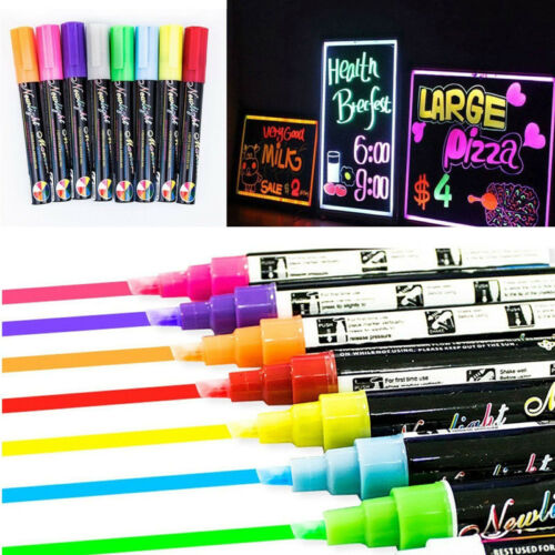 8 Set Dual Nib 6mm Neon Liquid Chalk Pen Marker Blackboard Glass Window Menu T