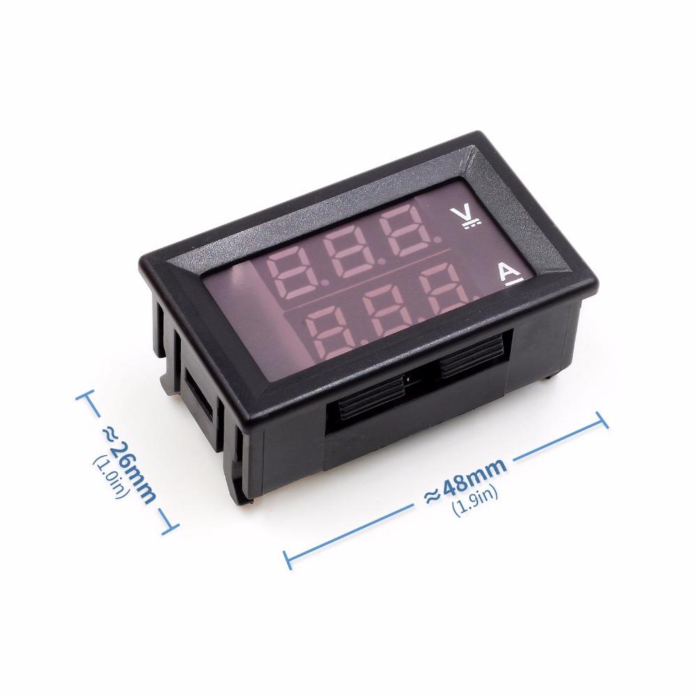 Aliexpresscom Beli Mini Digital Pengukur Tegangan Volt Voltmeter Ammeter Dc 100v 10a Warna Biru Dan Merah Dengan Dual Led 1 Pcs X Amper 100 V Panel Amp Current Meter Tester 028 Display