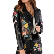 Heavy Embroidery Lady Leather Jacket Floral Embroidered Slim Fashion Rivet Coat Zipper Turn-down Collar Coat Women Sfp8191