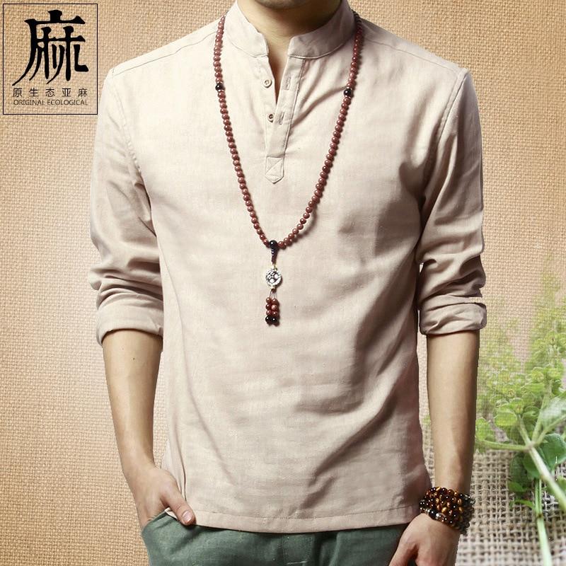 2020 cotton and linen men's shirts Leisure long-sleeved The shirt collar loose linen shirt