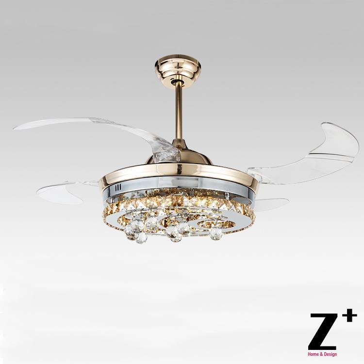 Chandelier Fan: American Modern Style Led Lights 4 Collapsible Fan Crystal