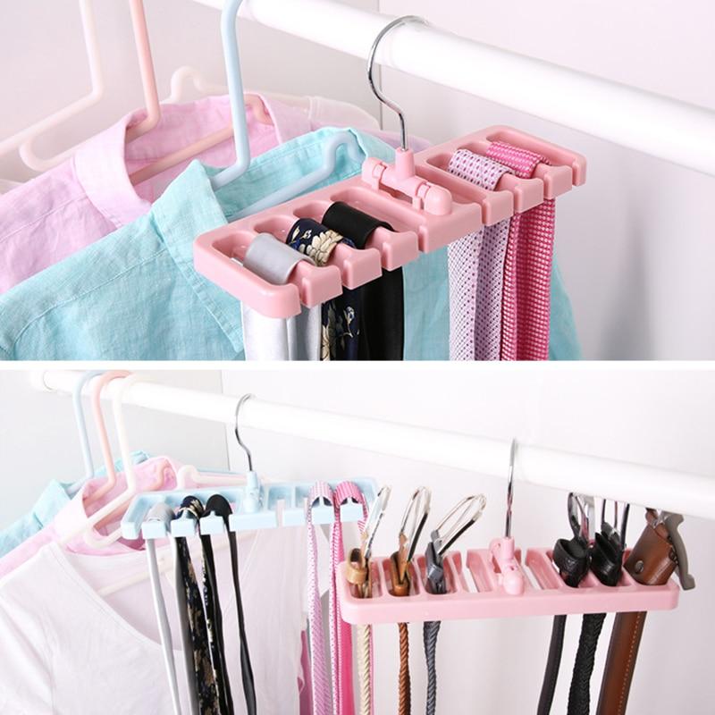 Storage Rack Tie Belt Organizer Space Saver Rotating Scarf Ties Hanger Holder Hook Closet Organization Tank Tops Belts JSX GHMY