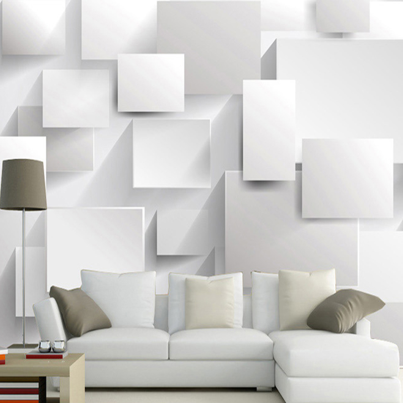 Modern Minimalist Artistic Wall Mural White Brick Photo Wallpaper