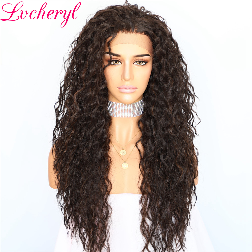 Lvcheryl Black Highlight Kinky Curly Hair Wigs Hair Deep L Parting Glueless Premium Heat Resistant Synthetic