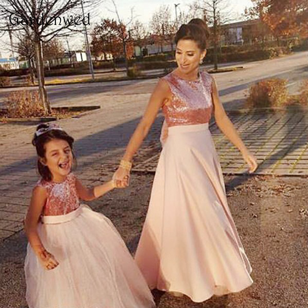 Gardenwed New Arrival Pink Sequin   Flower     Girl     Dress   Vestidos de Primera Comunion 2019 Sleeveless Floor Length Big Bow Knot Back