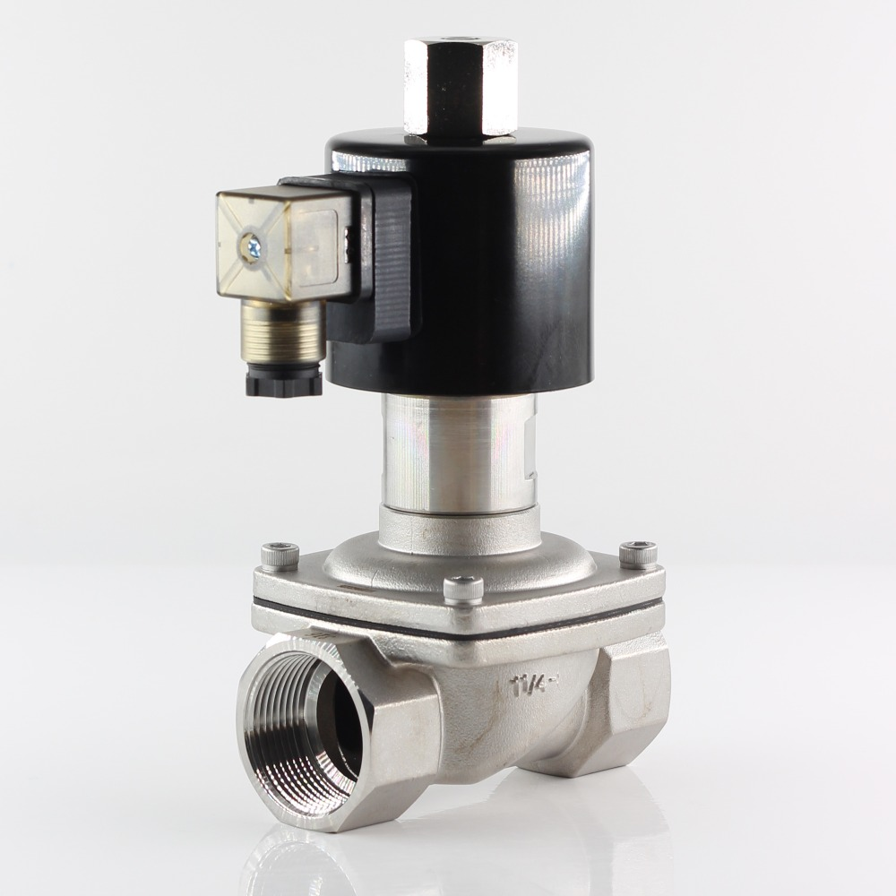 "ZS 2/2 way Direct Acting Normally Open Solenoid Valve,Stainless steel body, Hot Water Air Gas Oil Etc,220VAC 24VDC  DN32 G1 1/4""-in Valve from Home Improvement    1"