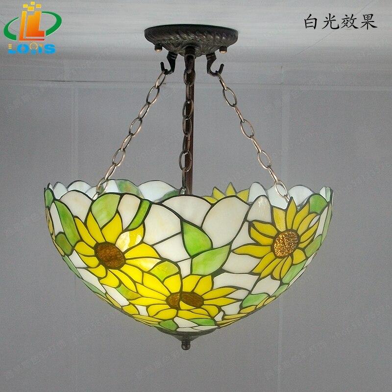 40 см Подсолнух желтое стекло Тиффани анти спальня с люстрами, гостиной лампы США французский бар вход освещение - 2
