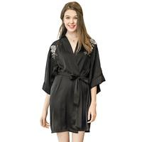 UNLIMON Womens Sexy Kimono Robe Stain Bathrobe Long Nightgown Half Sleeve Ladies Housecoat Bridesmaid Robes Silk Pyjamas