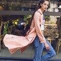 [XITAO] НОВАЯ осень Европа ветер моды стиль однобортный пояса длинный широкий талией форма сплошной цвет женщины траншеи, XYB-018