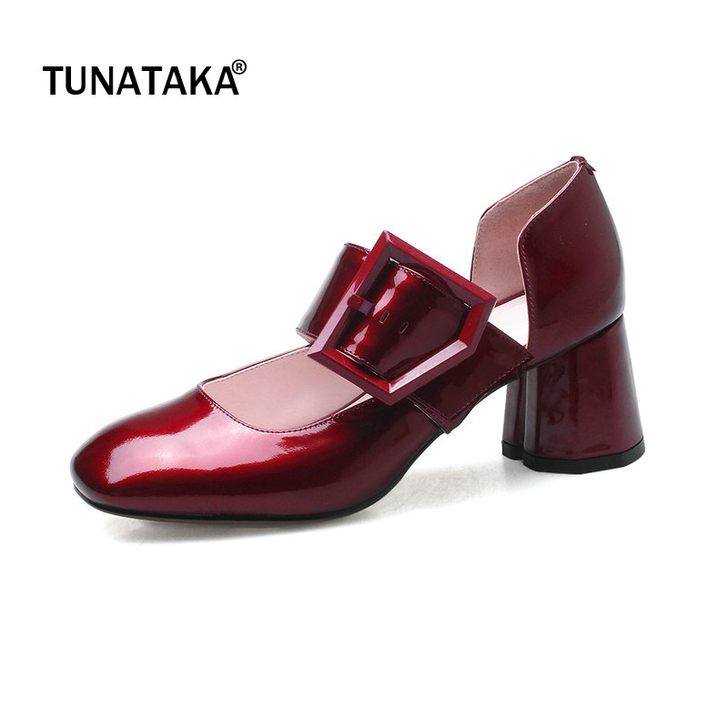 Genuine Leather Comfort Thick Heel Square Toe Woman Pumps Fashion Buckle Dress High Heel Shoes Woman Black Wine Red Yellow
