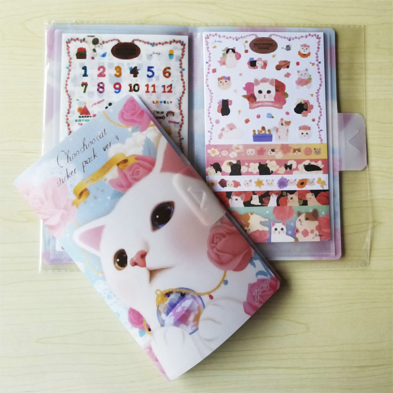 8PCS New Hardcover Lovely Cat Children Stationery <font><b>Stickers</b></font> For DIY Albums Scrapbooking Diary Decoration Cartoon Depicting image