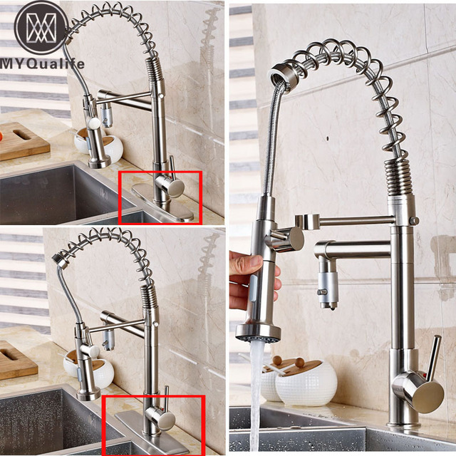 Brushed Nickel Pull Down Spring Kitchen Sink Faucet Handheld Dual Sprayers  Mixer Taps With Side Spout