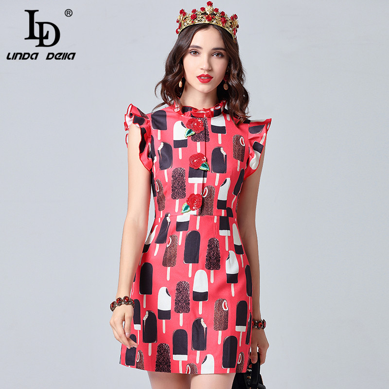 041f3fff1206a LD LINDA DELLA Runway Designer Summer Dress Women's Ruffles Sleeve Elegant  Red ice cream Print ...