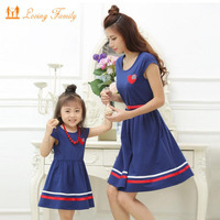 Mother Daughter Dresses With Belt And Necklace Family Clothing Mom Daughter Dress 2017 Summer Style Girls