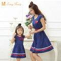 Hija de la madre vestidos con la correa y collar family clothing madre hija vestido de 2017 del verano muchachas del estilo de las mujeres vestidos de algodón