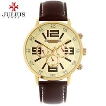 Юлий мужские наручные часы кварцевых часов мода ретро спорт платье браслет кожаный именинник рождество валентина подарок 072