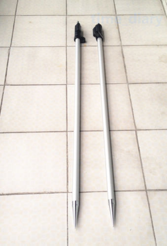 NEW 2PCS 2.15m ( 7 ft ) Prism pole for total stations Surveying 5/8x11 thread single prism with soft bag for leica type total stations