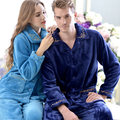 Free Shipping New arrive Full Sleeve Couples Flannel Coral Fleece Blue Color Homewear 02