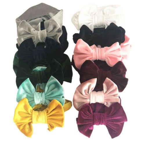 Fluwelen Strik Baby Meisje Hoofdband Pasgeboren Peuter Haarband 6 cm Zachte Comfortabele Leuke Hoge Kwaliteit Hot-Selling Elastische + lot