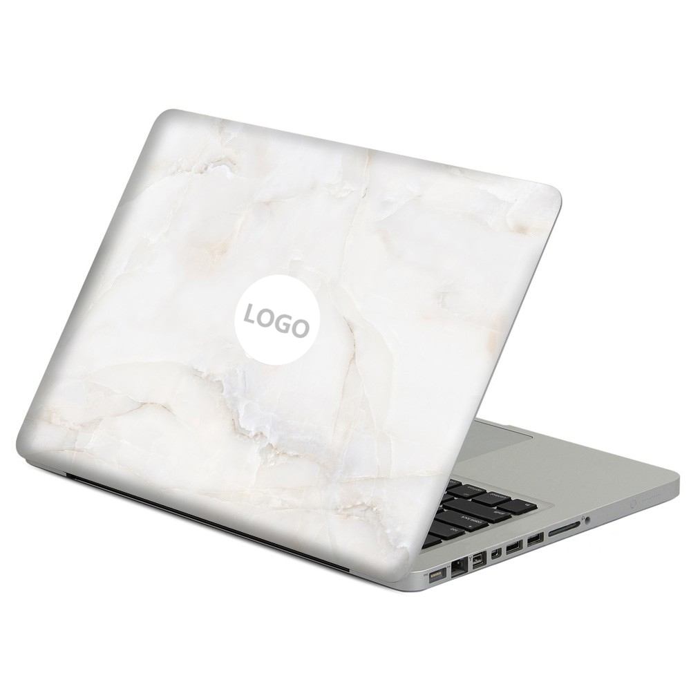 White Marble Grain Vinyl Full Positive Front Cover Decal Laptop Skin For DIY Macbook Air 13 13.3 Inch Laptop Case Sticker