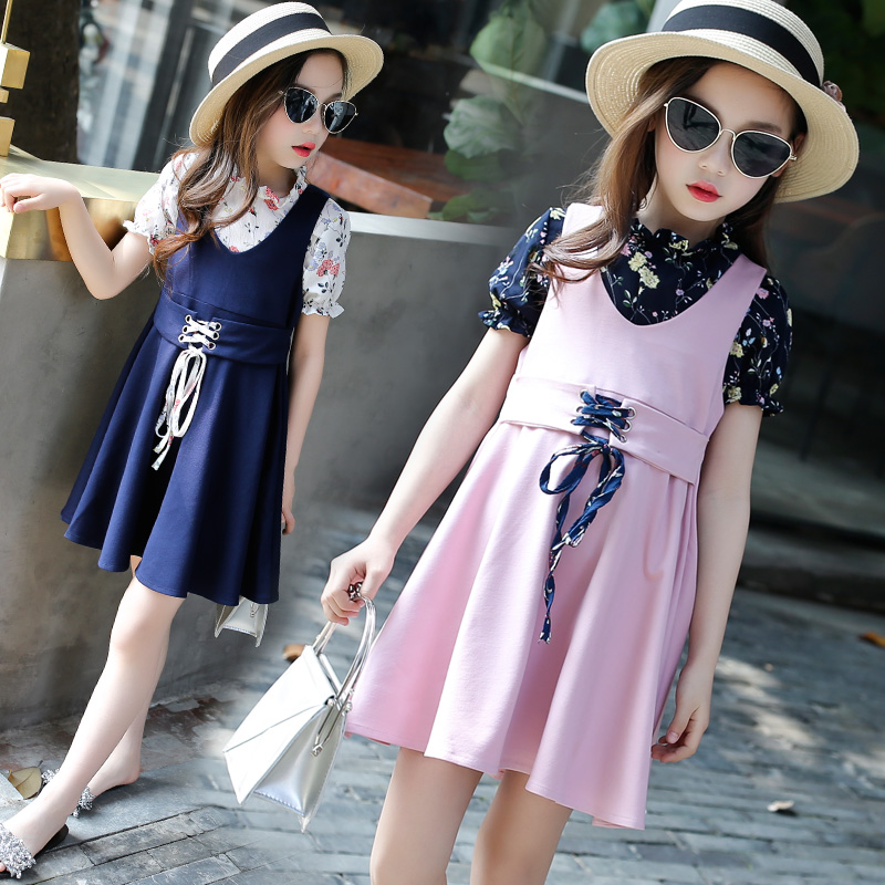 Kids Clothes Set Teenage Girls Summer 2pcs 2018 Baby Girl Clothing Ensemble Fille Floral Print Blouses Shirts + Sleeveless Dress girls clothes baby girl summer clothes ensemble fille girls clothing sets kids clothes print t shirt stripe dress suit twinset