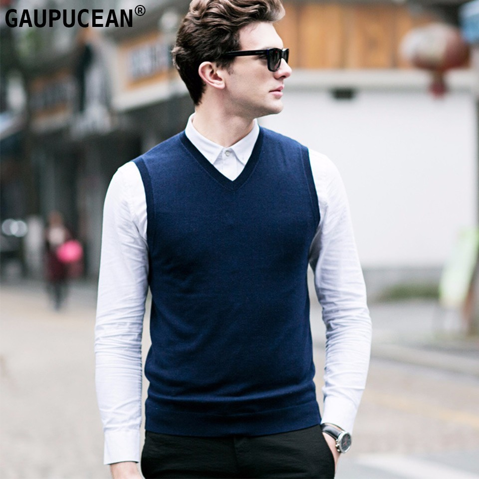 100% Wool Men Sleeveless Sweater V-neck Solid Color Grey Black Blue Purple 2018 Autumn Winter Pullover Knitted Woolen Man Vest