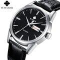 Мужские кварцевые часы WWOOR  деловые часы с кожаным ремешком и календарем  спортивные наручные часы