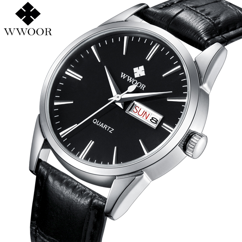 WWOOR Top Brand Men's Watch Quartz Business Calendar Clock Men Luxury Genuine Leather Strap Casual Sports Watches Male Relogio 2017 men xinge brand business simple quartz watches luxury casual leather strap clock dress male vintage style watch xg1087