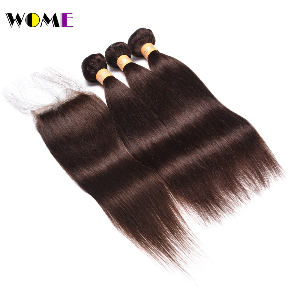 Wome Pre-colored Straight Hair With Closure #2 Human Hair 3 Bundles With Closure 4x4 Cheap Indian Straight Hair With Closure