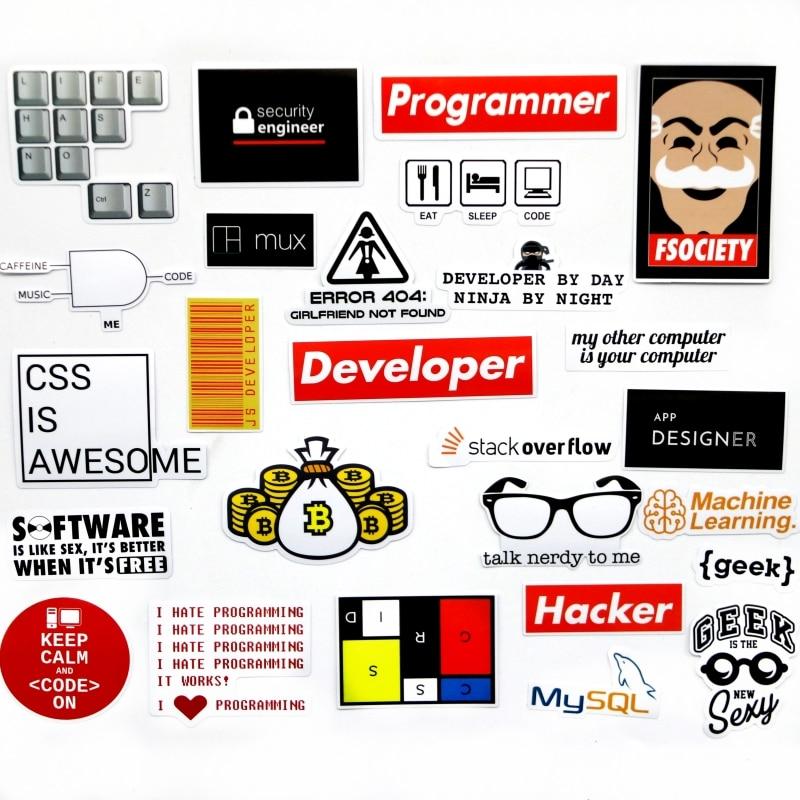 Купить с кэшбэком 40 PCS Developer Docker Hacker CSS programmer SQL funny  bicycle stickers for PC Mobile phone decoration stickers