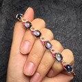 Real clássico 925 sterling silver brilhante topázio naturais bracelete de cristal pulseiras fine jewelry para as mulheres ovo superfície 8*10mm