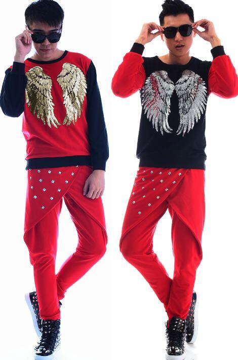 Moda punk sottile sexy camicia rossa uomini camicia a maniche lunghe adolescente coreano shirt mens personalità fase cantante danza shirt + pant - 6