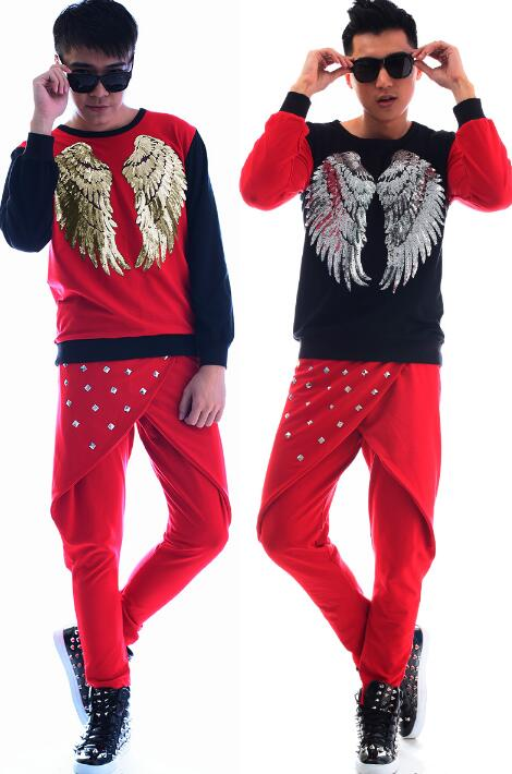 Mode punk slim sexy chemise rouge hommes à manches longues chemise adolescente coréenne hommes personnalité scène chanteur danse chemise + pantalon - 6