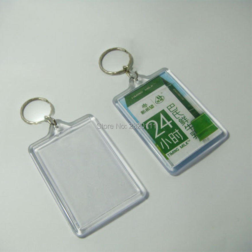 Wholesale -100PCS Biger Blank Acrylic Rectangle Photo Key Chains Photo  Frame Keyrings Tags- Free shipping 2db780715fb4