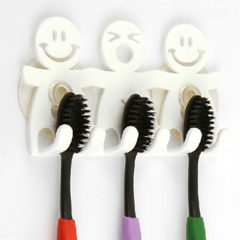Home Decoration Accessories Wall Sucker Smile Face Portable Plastic Stand Toothbrush Holder YH-460236